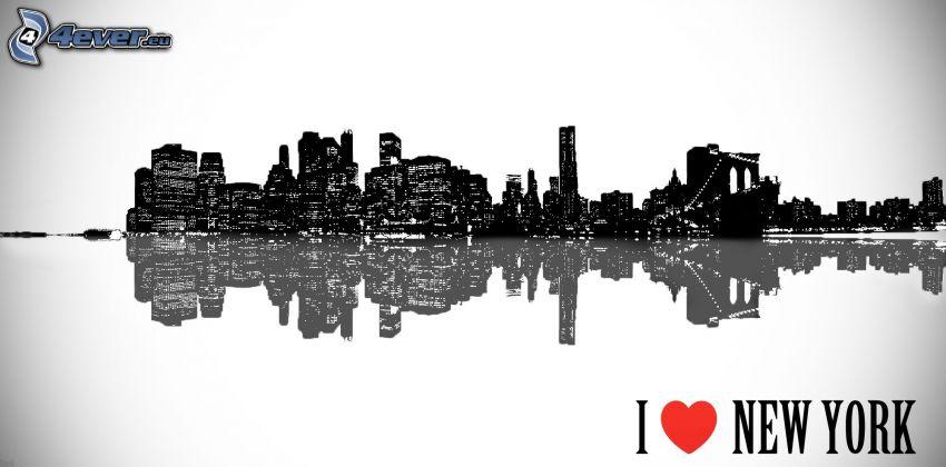 silhuett av stad, I love NY, spegling
