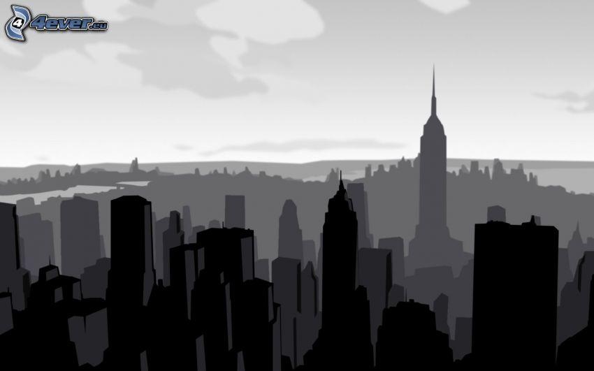 silhuett av stad, Manhattan, Empire State Building