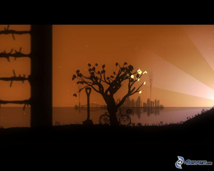 siluett av ett träd, silhuett av stad, flod, cykel