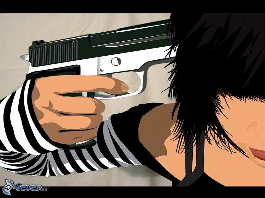 självmord, pistol