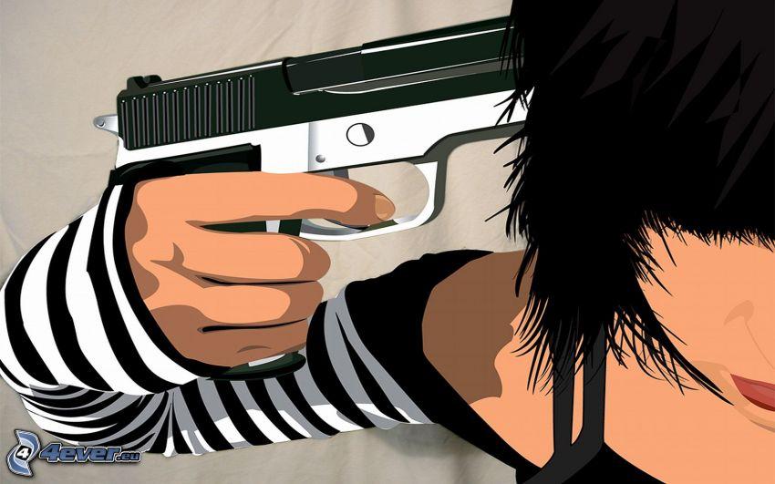 självmord, tecknad flicka, pistol
