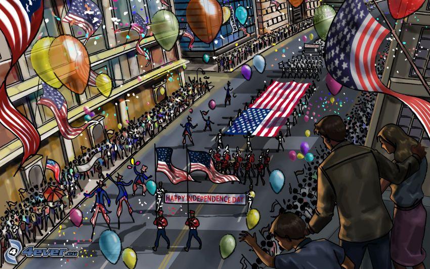 självständighetsdagen, gata, kalas, ballonger, Amerikanska flaggan