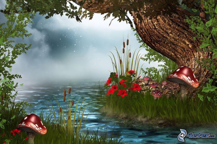 sjö, träd, gräs, röd flugsvamp, röda blommor, markdimma