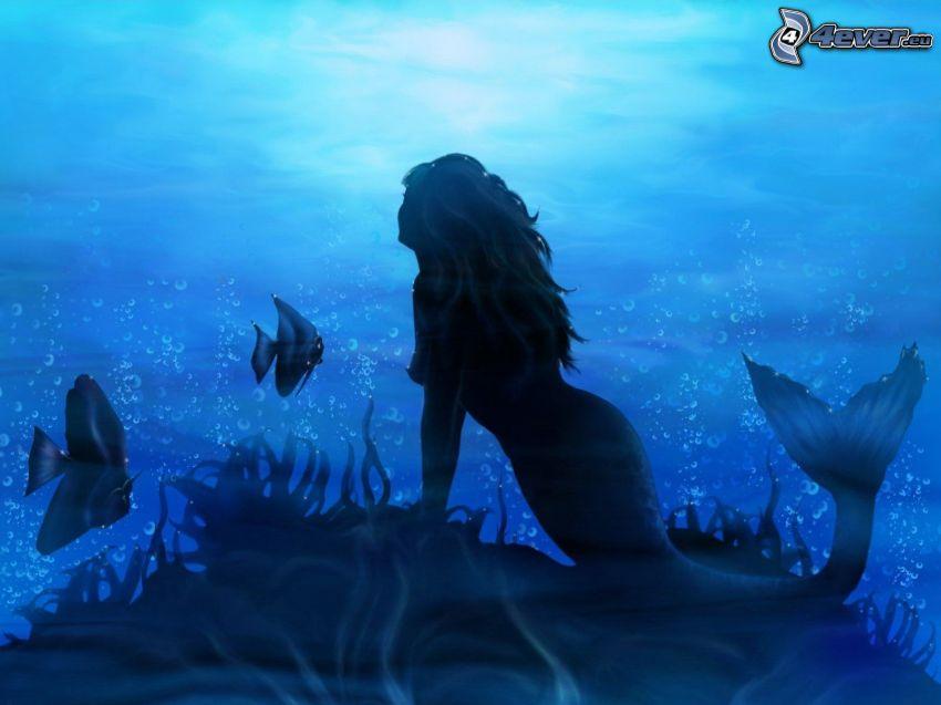 sjöjungfru, fiskar, simmande under vatten