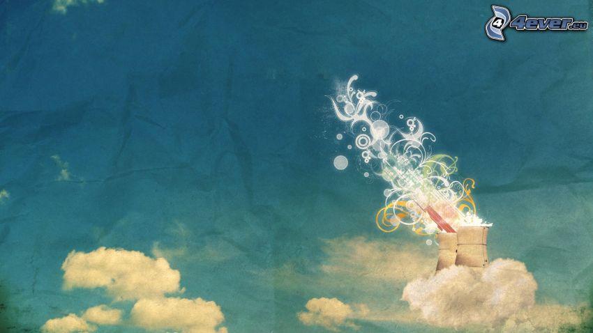 skorstenar, moln, abstrakt