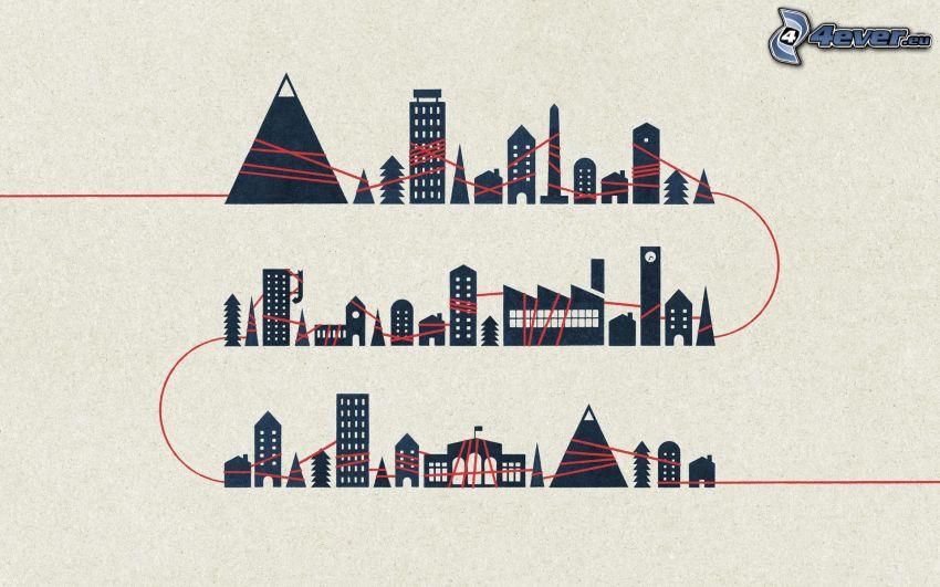skyskrapor, stad