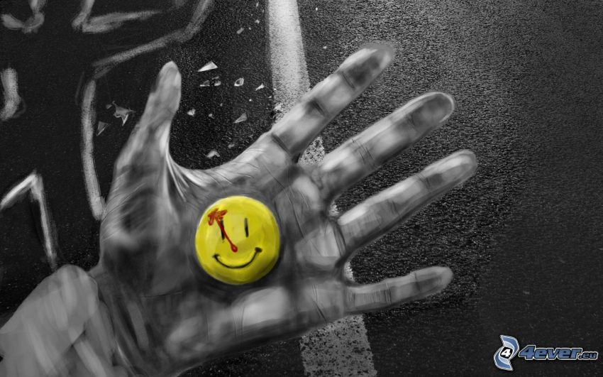 smiley, hand