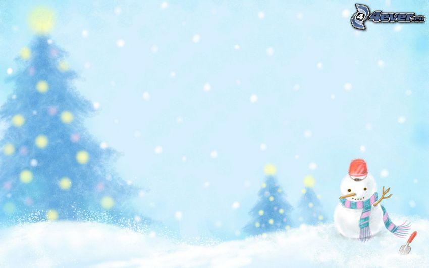 snögubbe, snö, julgran