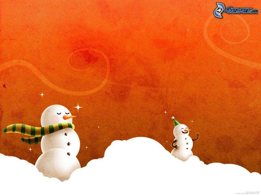snögubbe, snö
