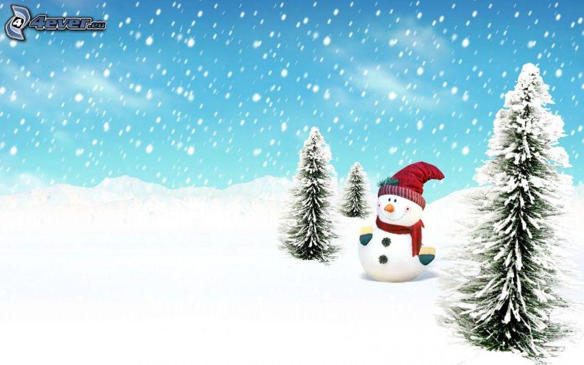 snögubbe, snöklädda träd, snöfall
