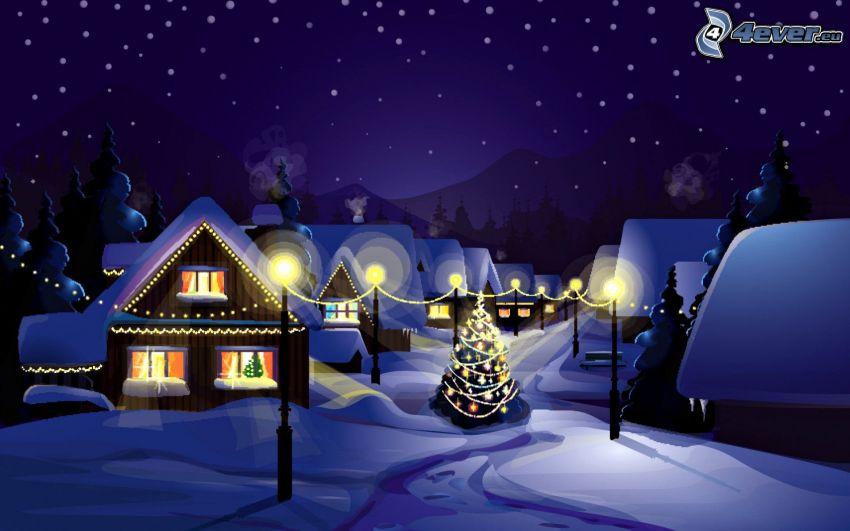 snöig by, gatlyktor, julgran, natt