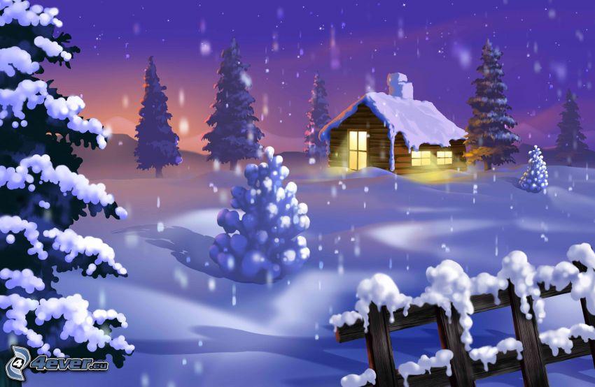 snöig stuga, snöigt landskap, trästaket
