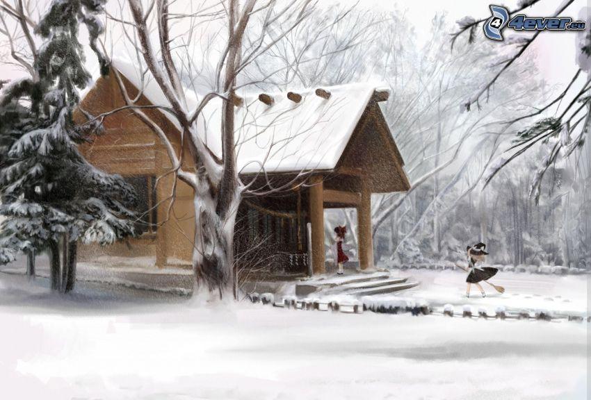 snöig stuga, tecknade flickor