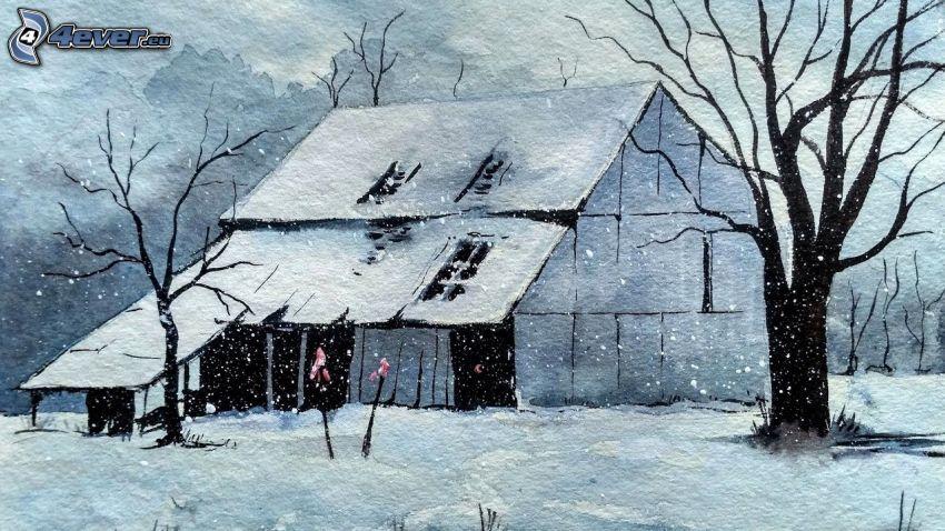snöig stuga, träd, snöfall