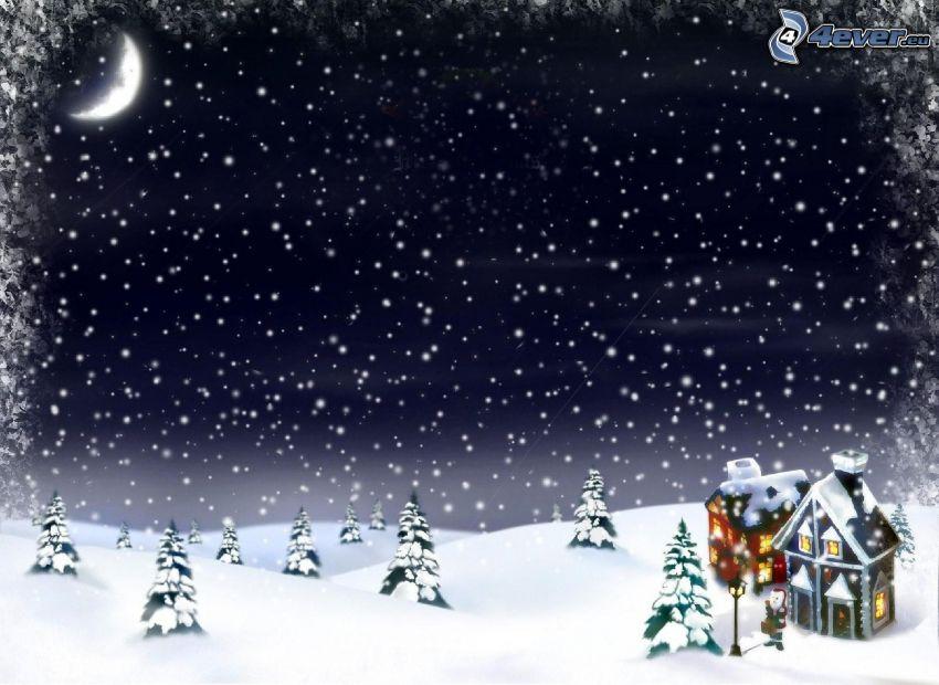 snöigt landskap, snöfall, natt, måne