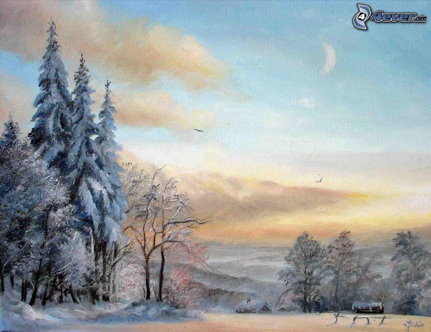 snöigt landskap, tecknat