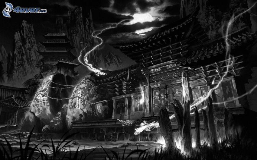 spökhus, svart och vitt