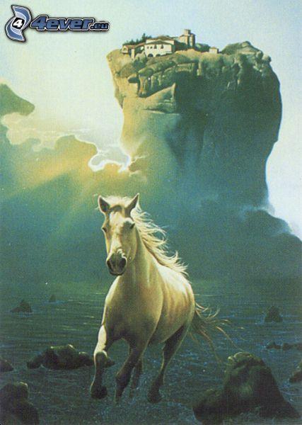 springande häst, vit häst, hus på klippor