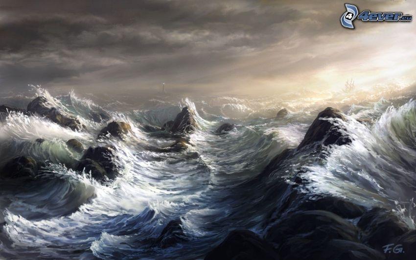 stormigt hav, vågor