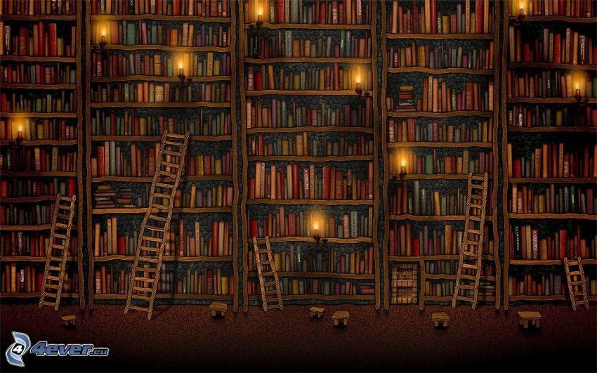 stort bibliotek, stege