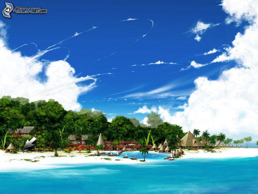 strand, azurblå hav