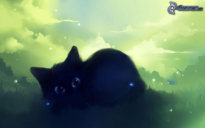 svart kattunge, tecknad katt