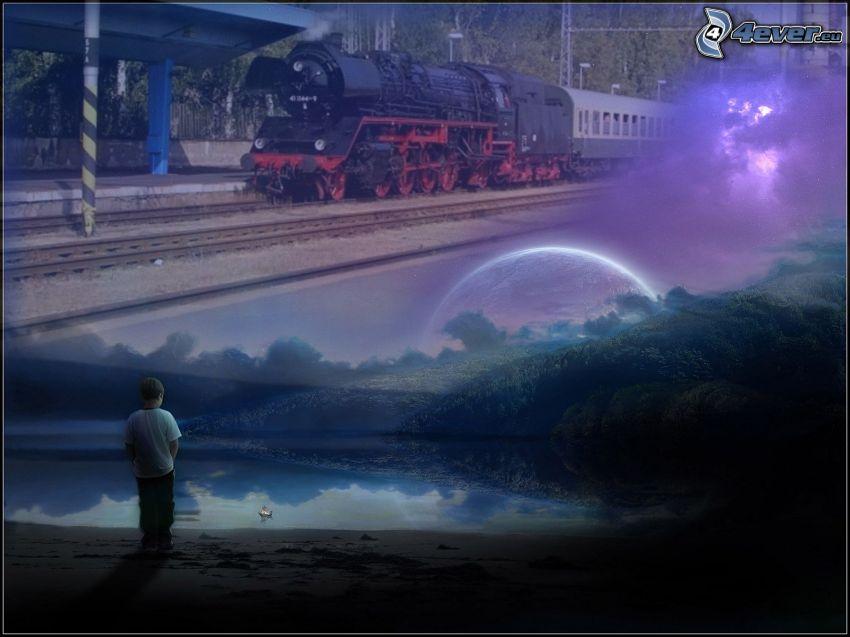 tåg, pojke, ensamhet, ånglok