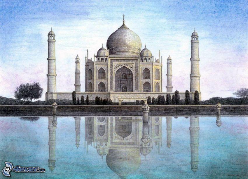 Taj Mahal, teckning