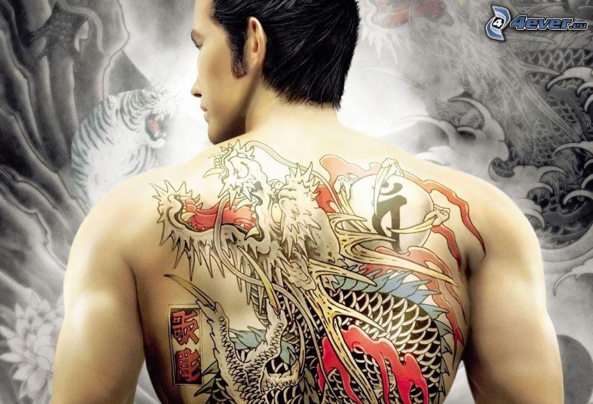 tatuering, tecknad drake, rygg, man