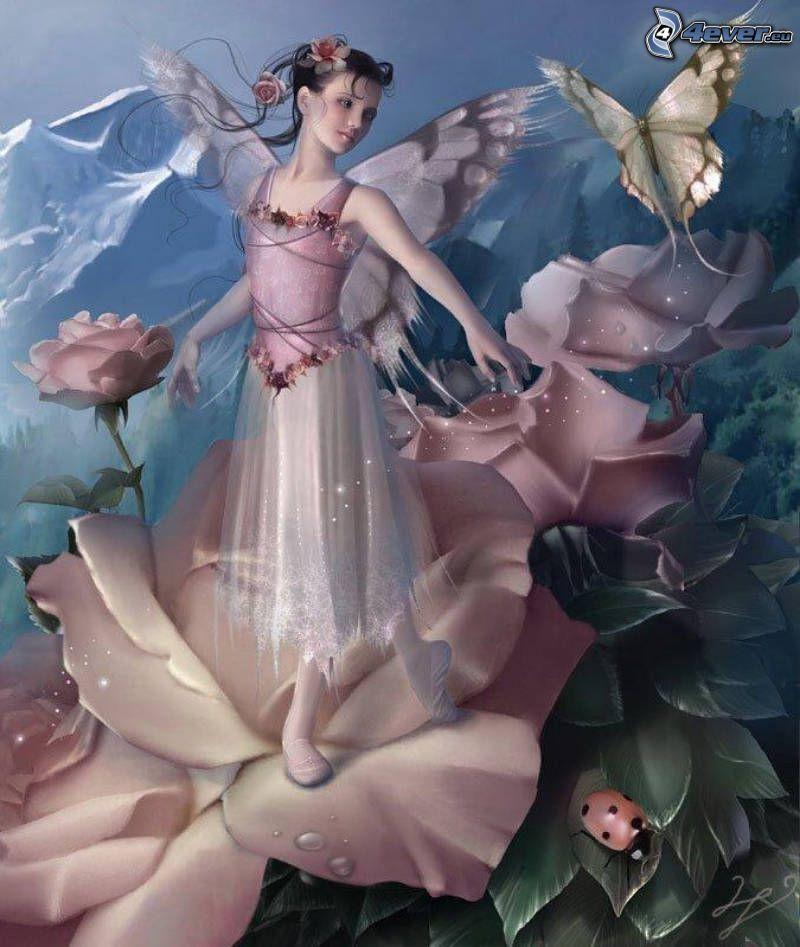 tecknad älva, fjäril, ros, nyckelpiga