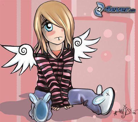 tecknad ängel, emo