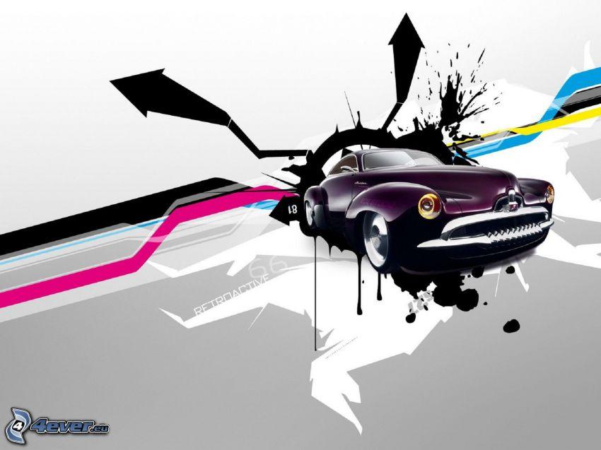 tecknad bil, abstrakt, pilkastning
