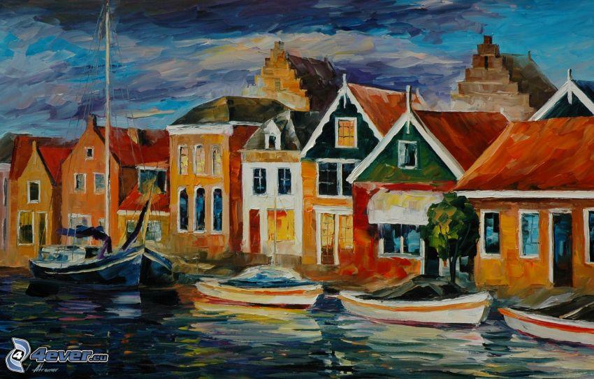 tecknad by, båtar vid strand, hus, oljemålning