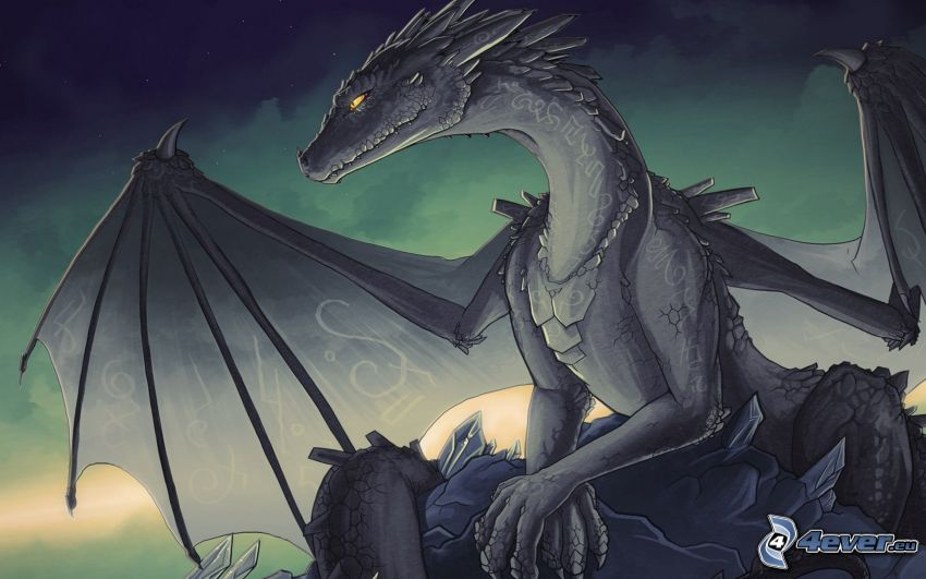 tecknad drake, svart drake