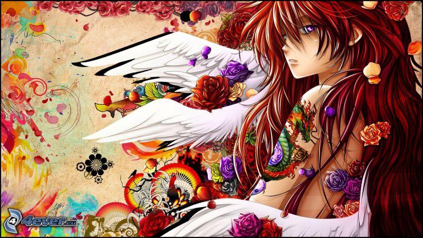 tecknad flicka, ängel