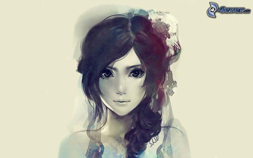 tecknad flicka, bild