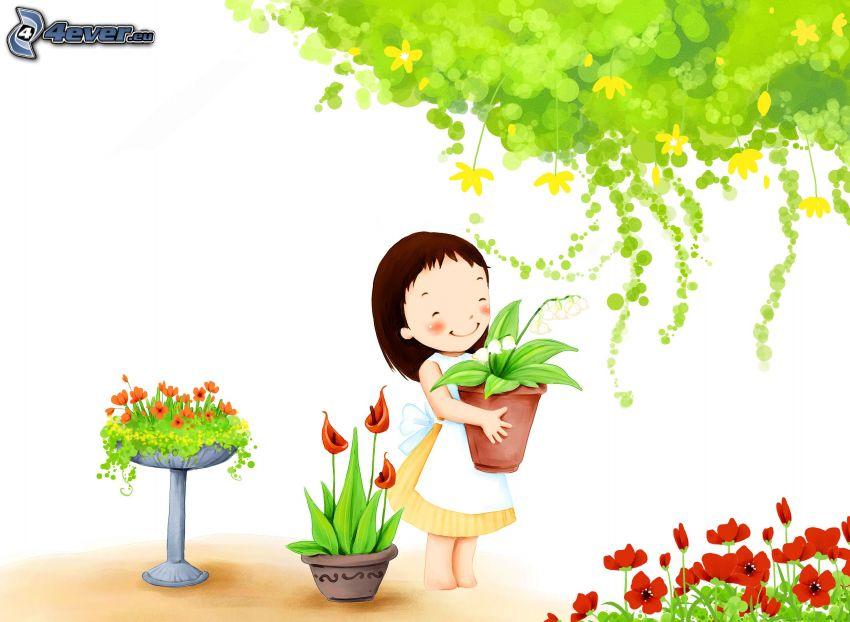 tecknad flicka, blommor, träd
