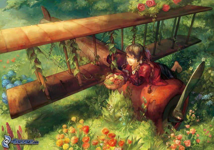 tecknad flicka, flygplan, dubbelvingat flygplan, krasch, blommor