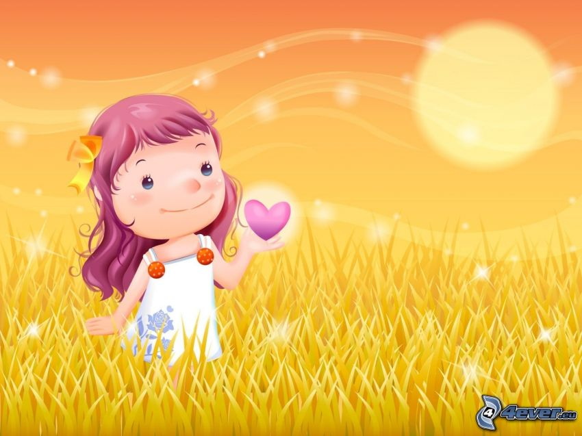 tecknad flicka, lila hjärtan