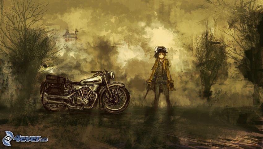 tecknad flicka, motorcykel
