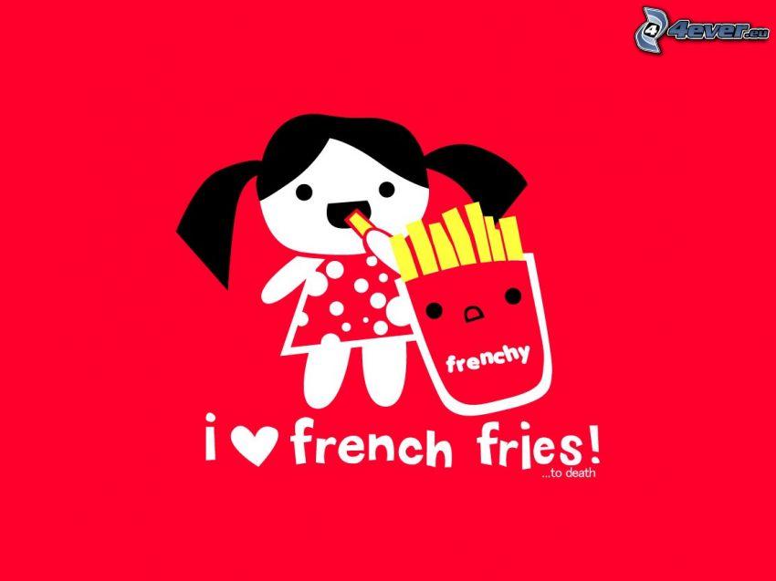 tecknad flicka, pommes frites, text
