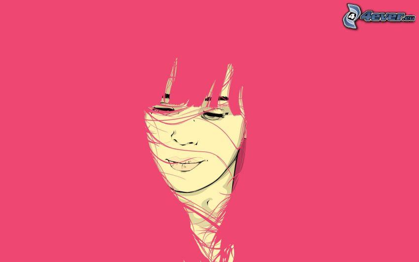 tecknad flicka, rosa
