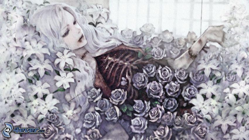 tecknad flicka, rosor, liljor