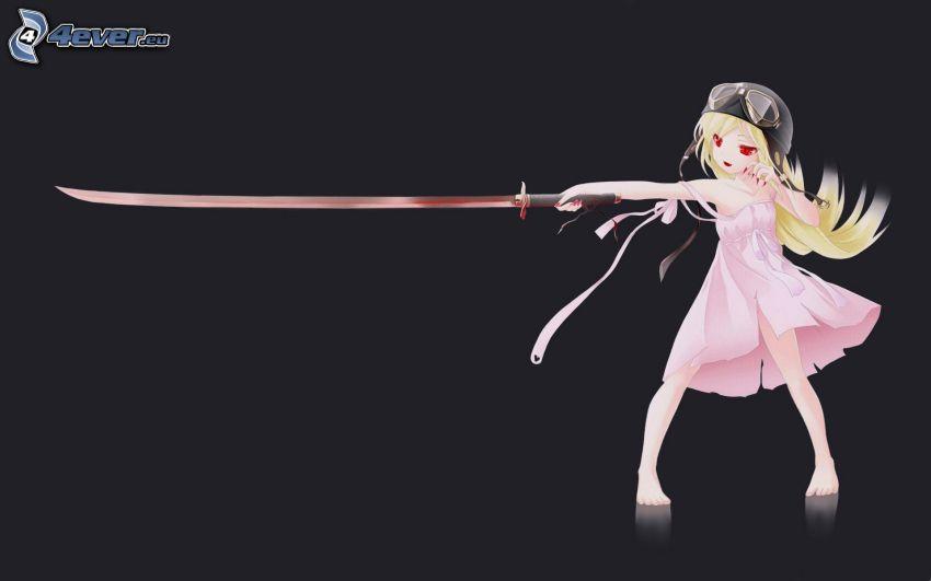 tecknad flicka, svärd
