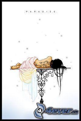 tecknad flicka, tatuering på ryggen
