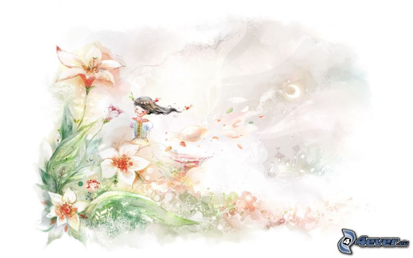 tecknad flicka, tecknade blommor