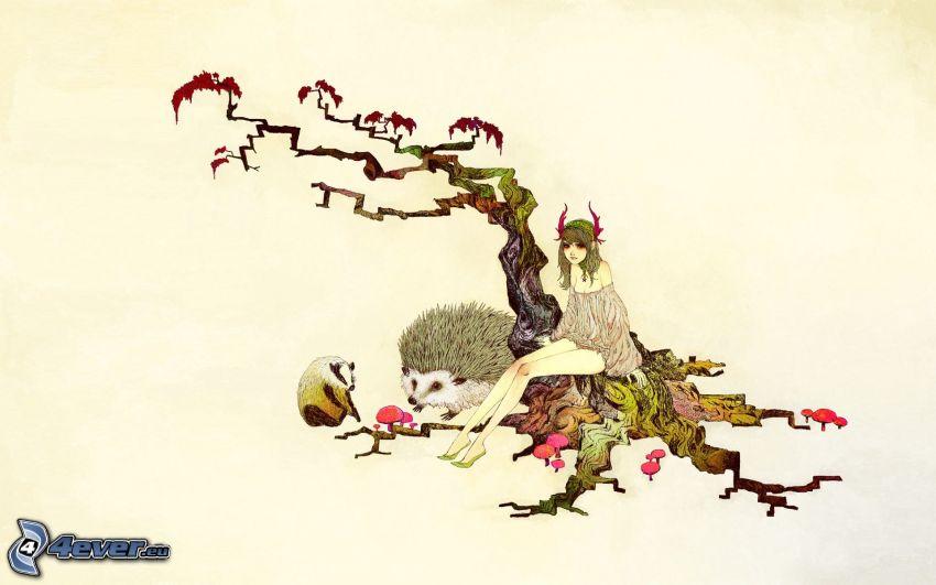 tecknad flicka, träd, igelkott