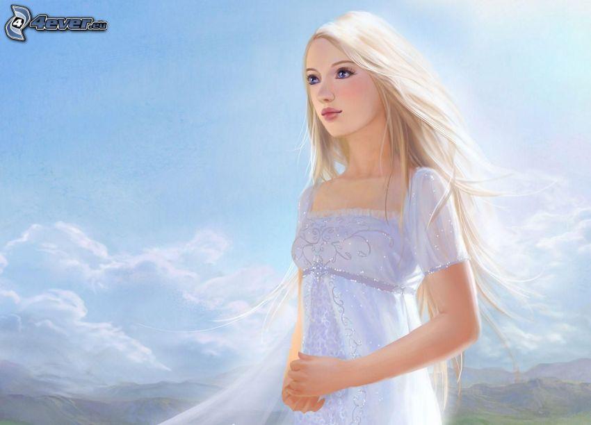tecknad flicka, vit klänning