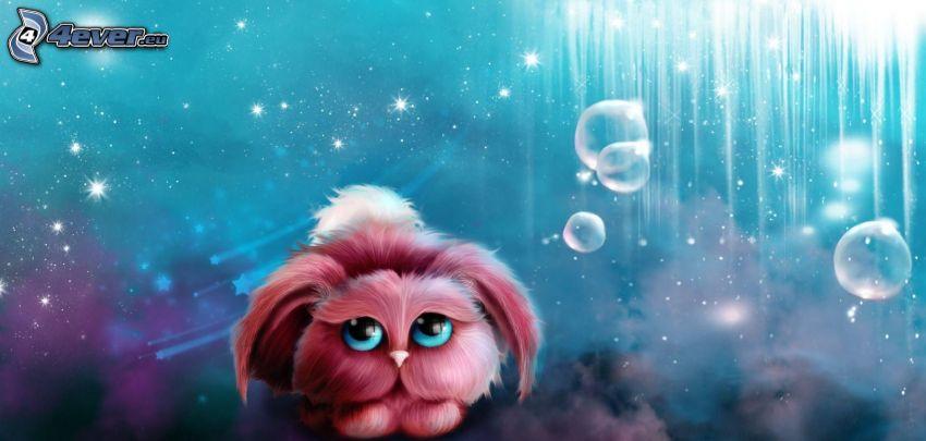 tecknad kanin, bubblor