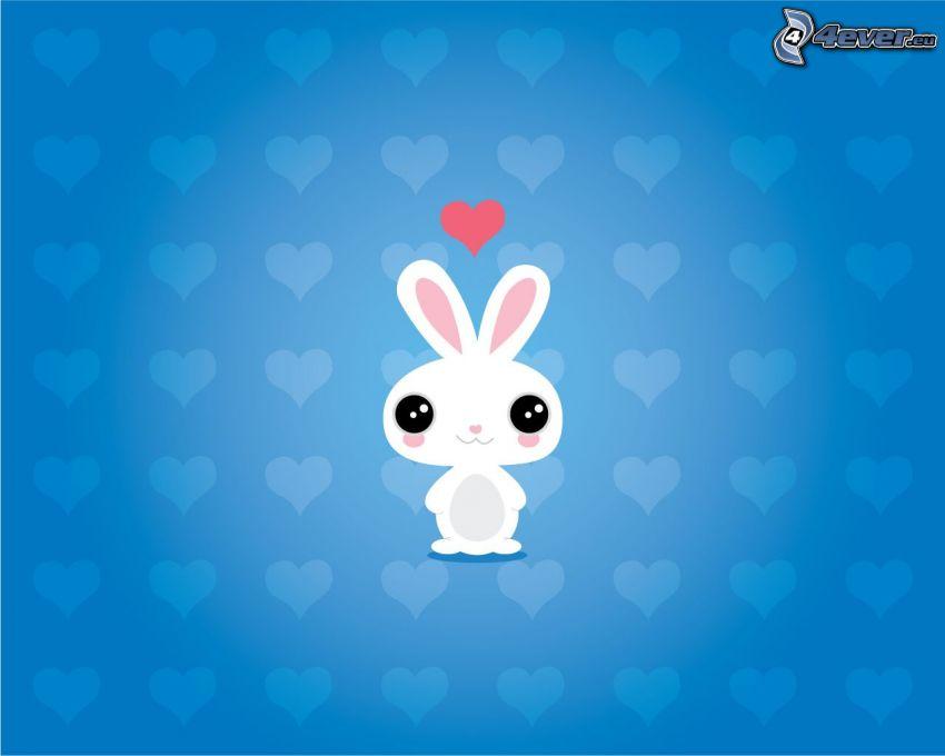 tecknad kanin, kärlek, hjärtan